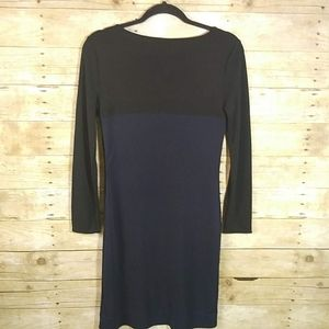 Banana Republic Size 2 Black Blue Fitted Dress